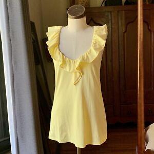 LILLY PULITZER ALESSA TOP Yellow MEDIUM Flounced Back $58