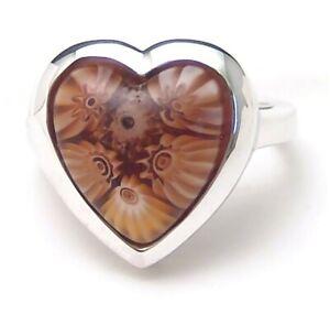 Sterling-Silver-Ring-Murano-Millefiori-Heart-Alan-K-Handmade-Size-7-Brand-New