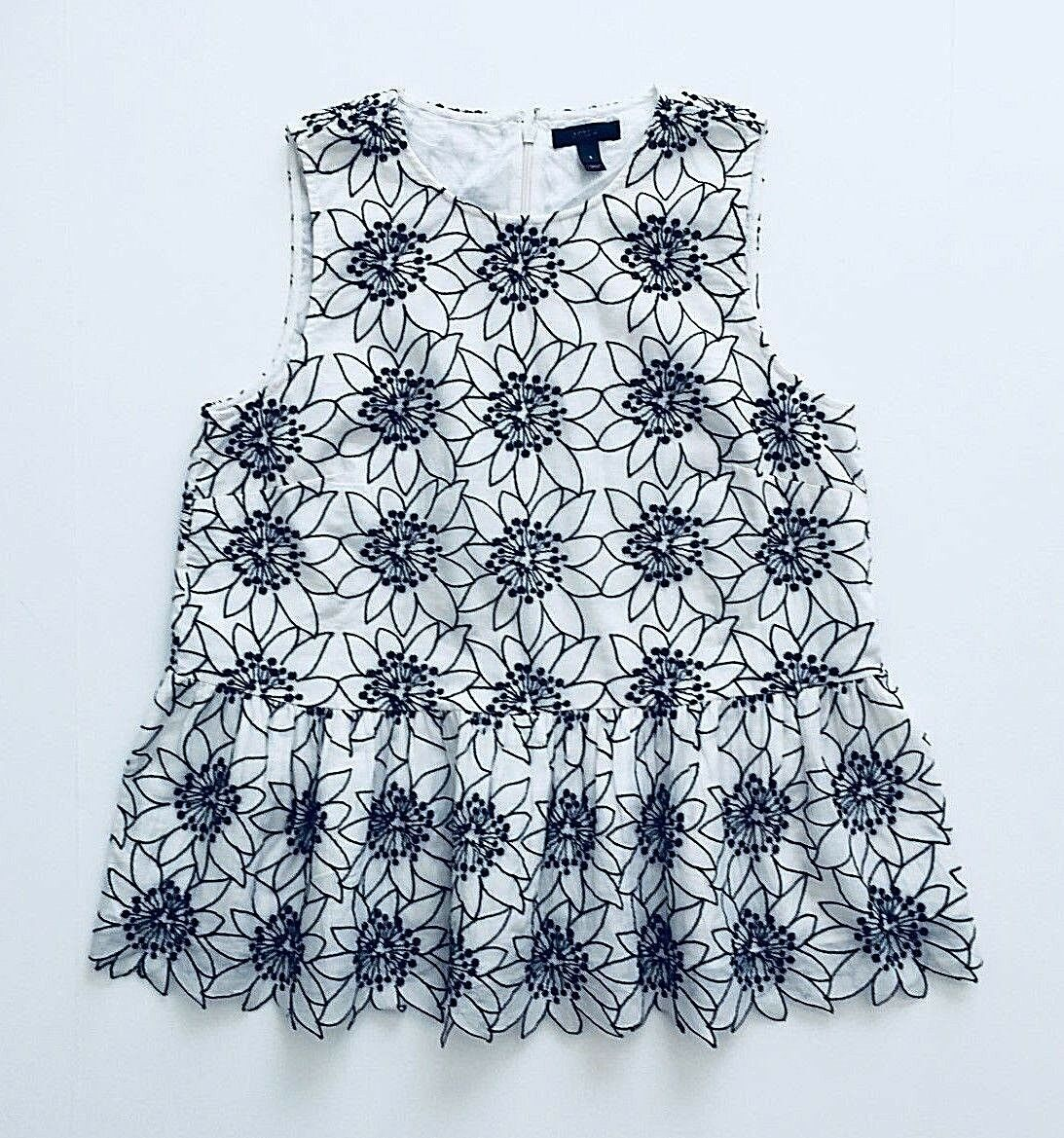 NWOT J Crew Embroidered floral top Size M Ivory Navy FA17 G8414