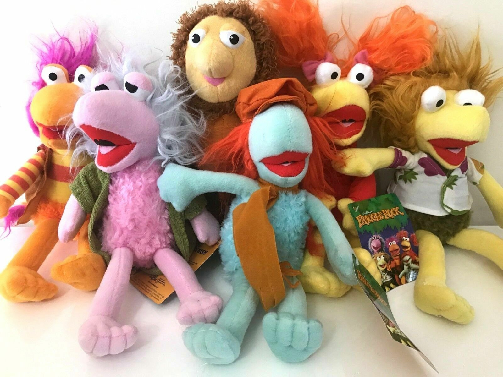 Set of 6 Fraggle Rock Plush Toys 10''.Wembley, Gorg, rot, Gobo,Mokey ,Boober NWT