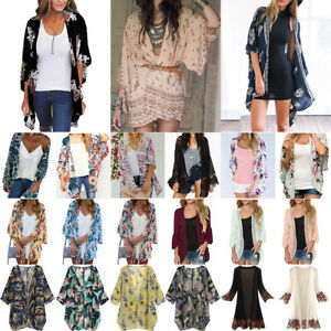 Ladies Boho Floral Kimono Cardigan Summer Holiday Top Blouse Beach Cover Up Plus