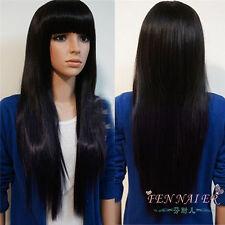 Women Long Straight Blue Black Neat Bang Hyuga Hinata Cosplay Full women's Wig