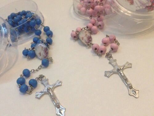 Baptism Favors Rosaries Scented 6-Pink 6-Blue Party Recuerdos de Bautizo Rosario