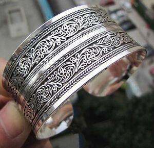 Frauen-Chinesischen-Totem-Armreif-Manschette-Armband-Tibetischen-Tibet-Silber-CL
