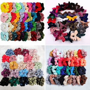 2019-Velvet-Hair-Scrunchies-Hair-Ties-Bun-Ring-Chiffon-Silk-Gorgeous-Elastic-Lot