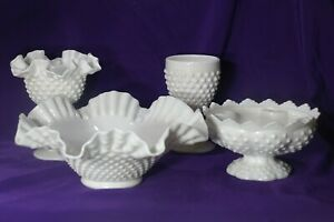 4-PC-FENTON-RUFFELED-HOBNAIL-MILK-WHITE-GLASS-Candle-BOWL-Bowl-Goblet-Compote