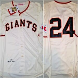 reputable site 325b2 db75f Details about New York Giants WILLIE MAYS Throwback Replica Mens XXL Cream  Baseball Jersey