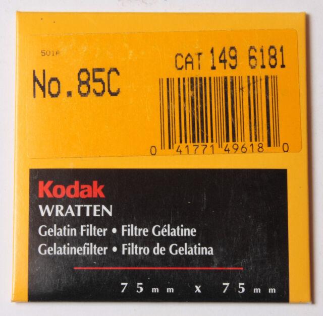 "Kodak Wratten No. 85C Gelatin Filter - 149 6181 - 75x75mm 3x3"" Square - NEW"