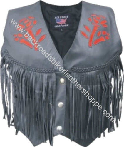 Ladies Women Leather Motorcycle Vest Red Rose Sizes XS to 5X NWT