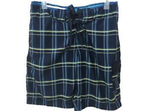 Speedo-bathing-suit-swim-trunks-Size-L-large-mens-blue-plaid-elastic-waist