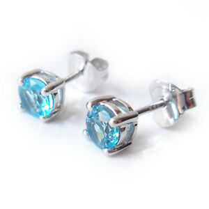 5mm-Blue-Topaz-Gemstone-925-Sterling-Silver-Stud-Earrings-December-Birthstone