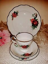 Vintage Christian Dior white teacup set with red roses, saucer, side & tea plate