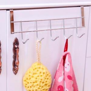 Patere-5-Crochets-en-Inox-pour-Chapeau-Manteau-Montage-sur-la-Porte-Argent