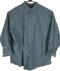 Roundtree-amp-Yorke-Shirt-Mens-Size-4XT-Tall-Blue-Green-Plaid-Button-Front-4XLT-4X
