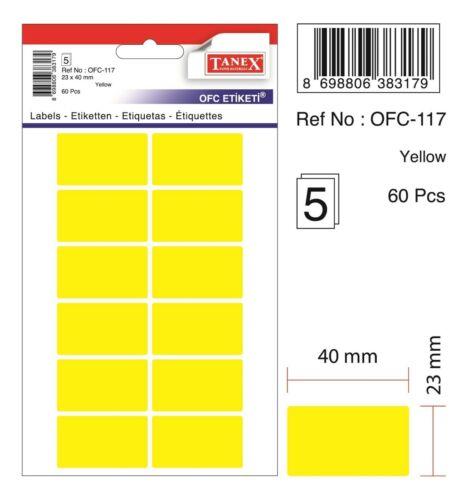 23 x 40 mm 120 Etiketten gelb TANEX OFC-117 Vielzweck Etiketten farbig