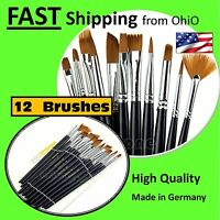 Nail Tech Art Supplies - - Brush Kit - - Made In Germany - - Authentic - - 12pcs