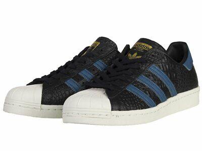 pretty nice 6f01c 737e9 ADIDAS Superstar 80s Black Blue Croc Reptile Mens Size 10.5 Sneaker BB2228  Shoe 889772897564 | eBay