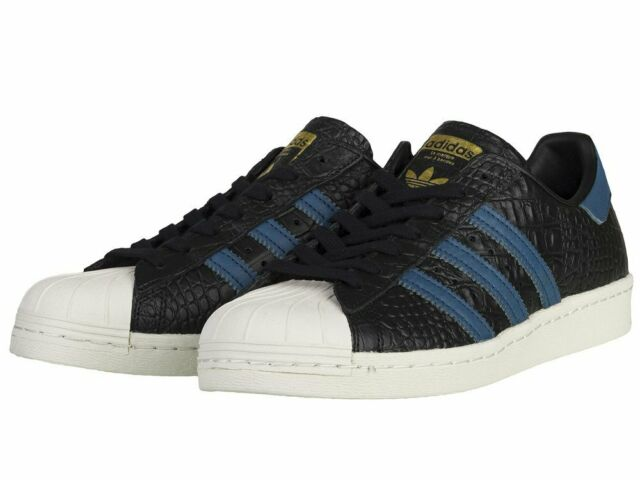 ADIDAS Superstar 80s Black Blue Croc Reptile Mens Size 10.5 Sneaker BB2228 Shoe