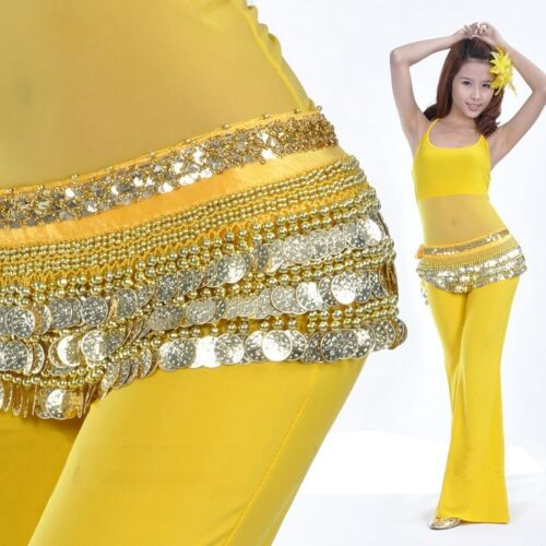 Belly Dance Hip Scarf Skirt Wrap velvet Costumes Loud Gold Coins 8 colors