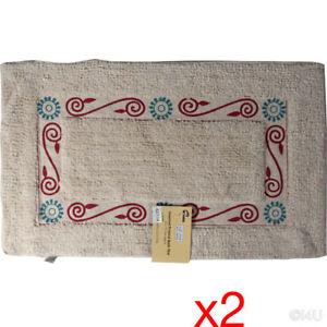 2 x Tappetino da bagno 45X75 cotone morbido tappeto tufted design antiscivolo tappeto bagno  </span>