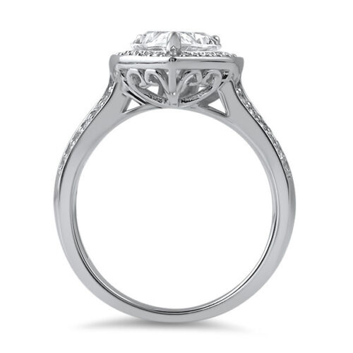 Sterling Silver Pear Cut Cubic Zirconia High Grade CZ Halo Cocktail Ring