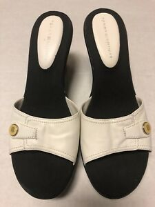 f5072bb3cf87 TOMMY HILFIGER Womens Size 10M Black White Leather Open Toe Slide ...