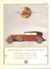 1930 CADILLAC V 16 RED + BLACK  CAR ORIG VINT  CAR AD