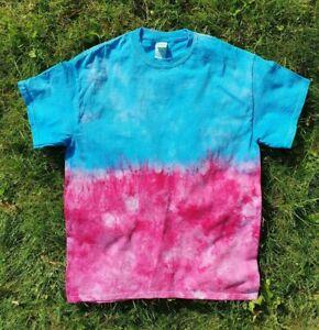 TIE-DYE-T-SHIRT-Blue-amp-Pink-Tye-Die-Tshirt-Top-Tee-Festival-Fashion-Rainbow