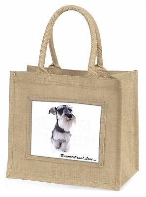 Schnauzer Hund Liebe Große natürliche jute-einkaufstasche Weihnachtsgeschenk