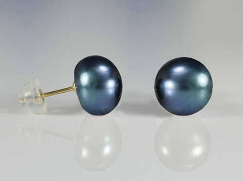 Details about  /14K Solid Gold 2 Pair Set of Black /& White 8-8.5mm Pearl Stud Earrings