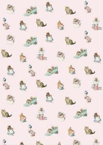 Dollhouse Miniature Peter Rabbit Nursery Computer Printed Fabric Cotton Pink
