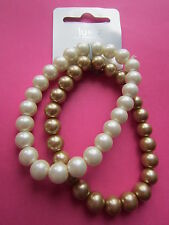 Set of 2 Gold & Cream Glass Pearl Round Beads Elastic Bracelets New with Tag
