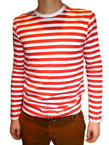 Mens-Stripey-t-shirt-tee-red-white-nautical-indie-mod-Top-striped-preppy-jumper