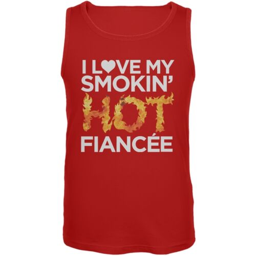 I Love My Smokin Hot Fiance Red Mens Tank Top
