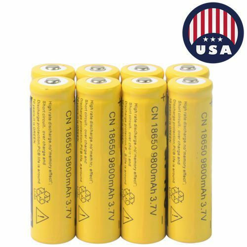 8x 18650 3.7V 9800mAh Yellow Li-ion Rechargeable Battery Cell For Torch USA