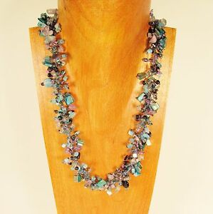 22 Blue Pink Stone Shell Chip Handmade Seed Bead Necklace FREE SHIPPING!