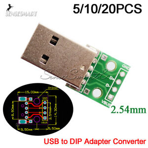 5-10-20PCS-USB-Male-to-2-54mm-DIP-Adapter-Converter-Board-4-Pin-PCB-Power-Supply