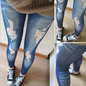 Women-Ripped-Denim-Jean-Look-Skinny-Leggings-Slim-Jeggings-Trousers-Fashion-EJB