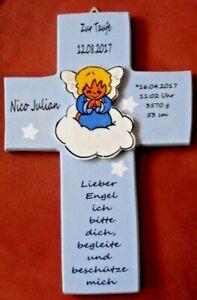 Details Zu Taufkreuz Schutzengel Geschenk Zur Taufe Geburt Holz Kinderkreuz Kreuz Baby Name