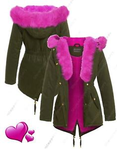 Womens-Parka-Coat-Ladies-Pink-Fur-Jacket-Size-8-10-12-14-16-Khaki