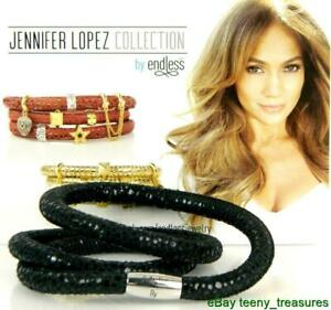 Jennifer Lopez ENDLESS Red Reptile Double Wrap Charm Bracelet Yellow Gold Clasp