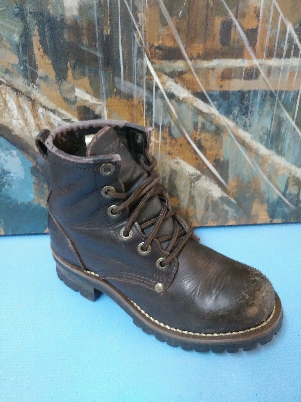 Skechers Womens Brown Leather Lace Up Logger Work Boots SZ 6.5