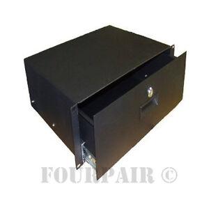 3 space 3u heavy duty 19 lock locking deep rack mount drawer dj rack road case ebay. Black Bedroom Furniture Sets. Home Design Ideas