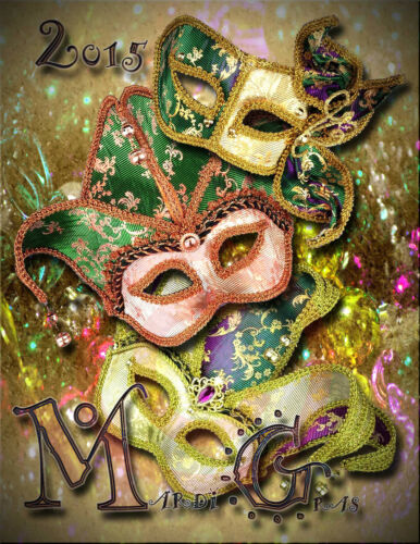 Mardi Gras Poster//Print//17x22 inches //New Orleans Louisiana//2015//Beads//Masks