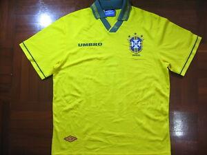 b5b0d0151 BRAZIL WORLD CUP 1994 UMBRO HOME FOOTBALL SOCCER JERSEY SHIRT L VTG ...