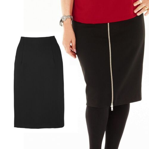 ARLENE PHILLIPS Ladies Womens Black Pencil Skirt Zip Plain Knee Length Size 30