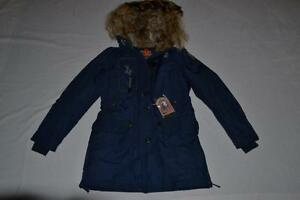 AUTHENTIC-PARAJUMPERS-KODIAK-WOMENS-PARKA-MARINE-L-LARGE-BRAND-NEW-REAL-FUR