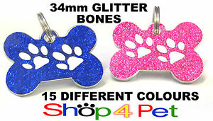 Dog-ID-Tag-34mm-Bone-PET-TAGS-Reflective-Glitter-Dog-Paw-ENGRAVING-OPTIONAL