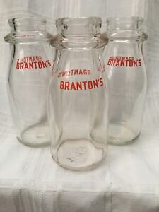 Lot-Of-3-Vintage-Half-Pint-Milk-Bottles-Branton-039-s-Dairy-Batavia-New-York-Bottle