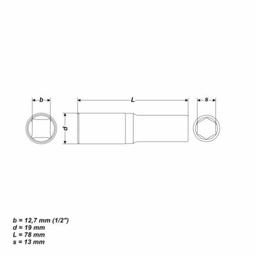 13 mm Socket wrench insert Hex Nut Length 78 mm recording 1//2 inch
